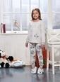 Sevim Baskılı Kız Çocuk Pijama Takım Bej